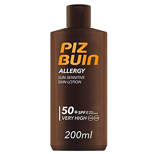 PIZ BUIN Lozione per la Pelle Sensibile al Sole, Allergy, 50+ SPF, Protezione Solare Molto Alta, Assorbimento Rapido, Resistente ad Acqua Sudore e Cloro, 200ml
