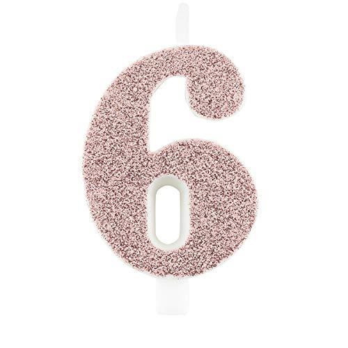 Candela 6 Sei ROSA GOLD GLITTER numerale h 9,5cm - Candelina rosa oro per Torta e dolci - candela di compleanno in cera a forma di numero (6 Sei)