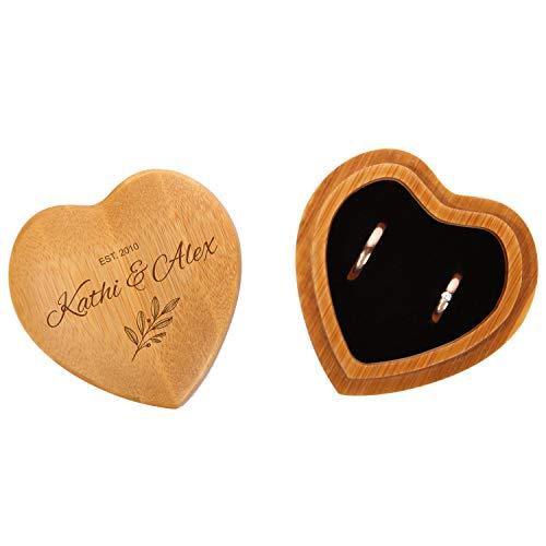 FORYOU24 Ringkissen als Herz aus Holz mit Gravur zur Hochzeit Motiv 01 hell - Ring Schatulle mit Deckel personalisiert, Namen und Datum, Holz Ringbox zur Trauung oder Verlobung, Ringträger