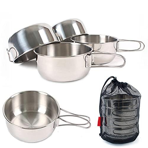 ZJJX Juego de 4 cuencos plegables de acero inoxidable 304, 650 ml, para camping, barbacoa, pícnic