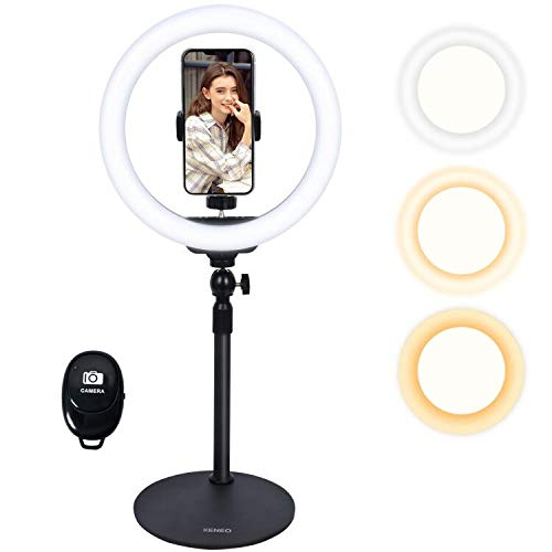 """Xeneo 10"""" Desktop Selfie Ring Light with Stand and Phone Holder for iPhone Android, 3 Light Modes Dimmable LED Ringlight for YouTube/Video Shooting/Streaming/Makeup with Remote Shutter"""