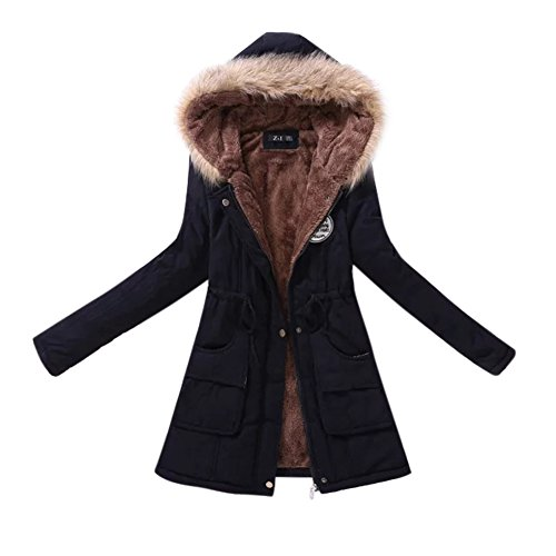 Edtara Abrigo Largo para Las Mujeres, Abrigo de Polar cálido con Capucha, Chaqueta de algodón con Cuello Redondo, Cazadora para Las Mujeres