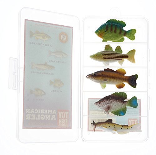 Toy Fish Factory American Angler Collection Toy Fish Set | Fish Figurines | Fish Toys for Kids | Largemouth Bass Catfish Bluegill Crappie Striper | Small Toy Fish