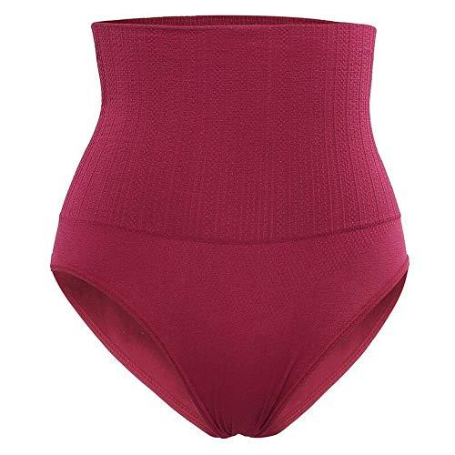 ZHZHUANG Mujeres Simple Color Sólido Cuerpo Shaper Cintura Trainer Pantalones Adelgazando Ropa Interior Bodywear Forma de Forma de Short Shaper Control Alto Cintura Panty,Vino Rojo,Xl 2Xl