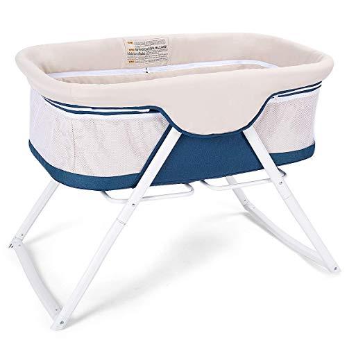 Stubenwagen,Babywiege Stubenwagen, Babybett Klappbar, Babyschaukel Kinderbett, Schaukelwiege Baby Reisebett (Blau)