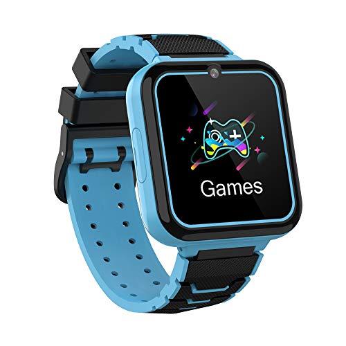 Bruvoalon Kinder Smartwatch, Spiele Musik Player, SOS, 1,54 Zoll LCD-Touchscreen, Taschenlampe, Spielen, Zwei Wege Gespräch, Wecker für Jungen und Mädchen im Alter von 3-12 Jahren (Blau)