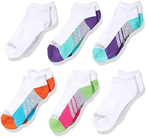 Fruit of the Loom Big Girls' 6 Pack Low Cut Socks,  Multi, Shoe: 10.5-4