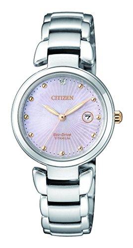 CITIZEN Damen Analog Solar Uhr mit Titan Armband EW2506-81Y