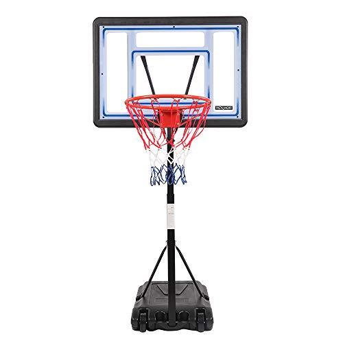 PEXMOR Poolside Basketball Hoop, Adjustable Height 4'-6.5' Swimming Pool Basketball Hoop,Upgraded System with 35.43 x 23.62 PVC Backbord, 2 Basketball Nets (Blue)