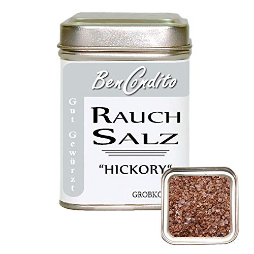 BenCondito - Rauchsalz Hickory - mit Hickory Holz Geräuchertes Salz 130g Dose