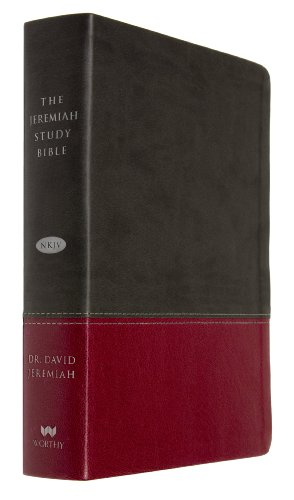 The Jeremiah Study Bible, NKJV: Charcoal/Burgundy LeatherLuxe® w/thumb index: What It Says. What It Means. What It Means For You.