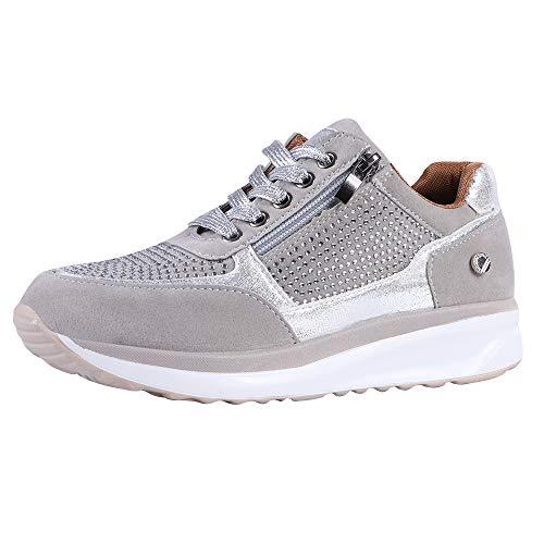 Puimentiua Zapatos Deportivos de Cuña para Mujer Calzados Ligeros y Transpirables Antideslizante para Correr Gimnasio