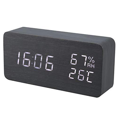 Fransande Reloj despertador LED moderno temperatura humedad electrónica de escritorio digital relojes de mesa, negro + blanco subtítulos