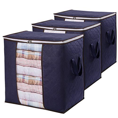Lifewit 3 Stück 90L Große Aufbewahrungstasche Schrank Organizer Set, Faltbar Kleideraufbewahrung mit verstärkt Griff, stabilem Reißverschluss für Kleidung, Bettwäsche, Bettdecken, Steppdecke, Kissen
