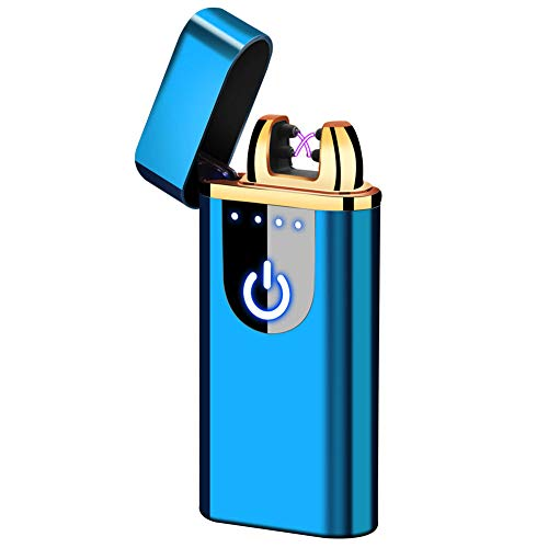 Veksun Electric Lighter, USB Rechargeable Double Arc Flameless Windproof Plasma Lighter Cool Lighter for Camping, Hunting, Backpacking,Hiking,Firestarter,Survival,EDCetc (Blue)