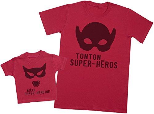 Zarlivia Clothing Nièce Super-héroïne - Un Article – Partie d'Un Ensemble - Hommes T-Shirt - Rouge - M
