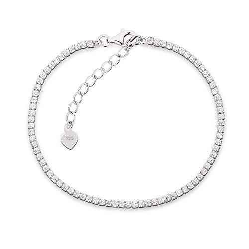 Schöner-SD Feines 925 Silber Tennis Armband rundherum mit Zirkonia 16+3cm_2,0mm_Silber