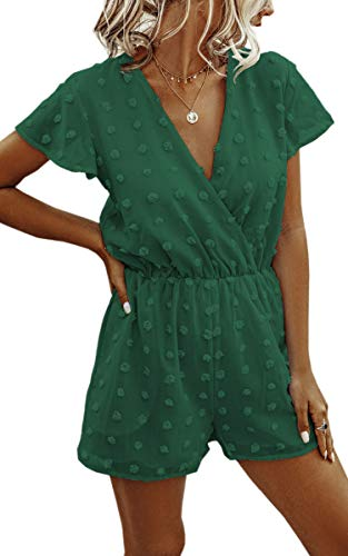 Angashion Women's Rompers-Summer Deep V Neck Wrap Floral Polka Dot Short Sleeve Beach Short Jumpsuit Green Large