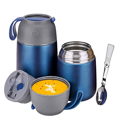 2 Piezas Termo para Comida 500ml& 700ml Recipiente para Comida Acero Inoxidable, Recipiente para Alimentos, Con Cuchara Plegable, Termo para Comida, Comida para Bebé, Sopa, Papilla, Azul oscuro