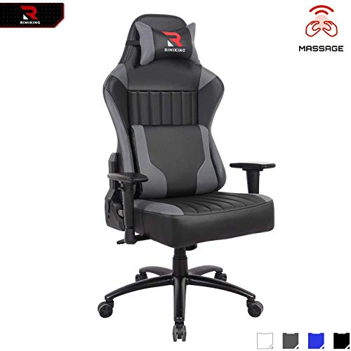 RIMIKING Big Tall Gaming Chair-Ergonomic High Back Adjustable 2D Arms Racing Executive Computer Desk Office Chair Rocking Metal Base Wide Backrest&Headrest