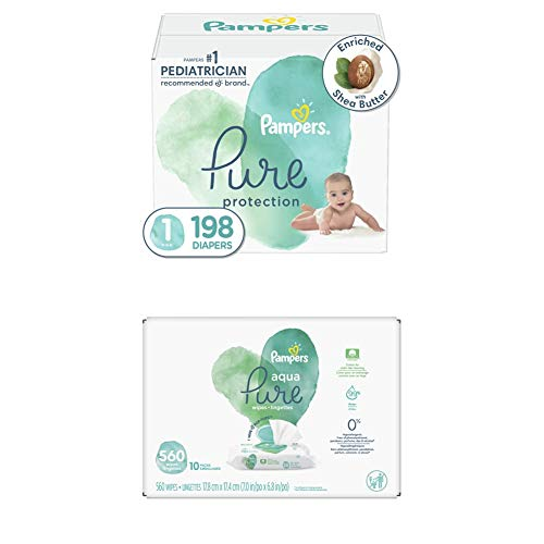 Diapers Size 1, 198 Count – Pampers Pure Protection Disposable Baby Diapers, Hypoallergenic and Unscented Protection…