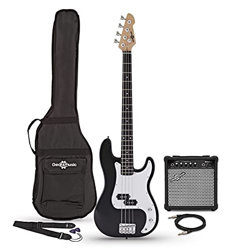 Bass Guitar LA by Gear4music Black with 15W Amp Gig Bag and Cable