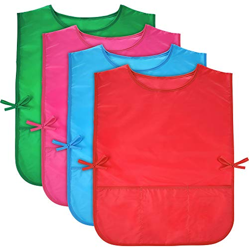 Pllieay 4Pcs 4 Colors Water Resistant Kids Art Smocks with 3 Pockets, Middle Size Children Artist Painting Aprons for Classroom, Kitchen Community Event, Crafts & Art Painting Activity, 5-10 Years