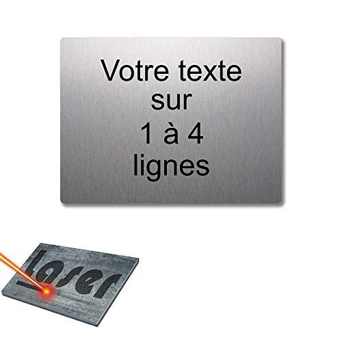 Mygoodprice - Placa grabada personalizada, 1 a 4 líneas, 20 x 15 cm, autoadhesiva, aluminio cepillado