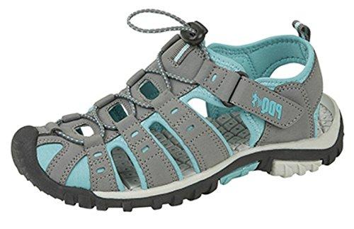 PDQ Damen Trekking-Sandalen von, Knebelknopf und Klettverschluss, Grau - Grau/Jade - Größe: 38