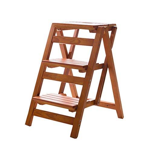 Houten 3 Stap Ladder Stoel Kruk Multifunctionele Vouwplank Ladder Kruk Familie Bibliotheek, 150Kg Capaciteit (Walnoot Kleur) Ladder hgfjhgjhfgfdhg
