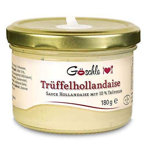 Die Trüffelmanufaktur - Trüffel Hollandaise Soße, Feinkost Trüffelcreme mit 10{6d9203afed47ecff44574e0e5d0a0fecff784160e49620c3c9048cd934c9be55} echtem schwarzem Trüffel, Trüffelhollandaise Sauce für Spargel, Gemüse, Fisch & Fleisch, Trüffelsoße weiß im 180 g Glas