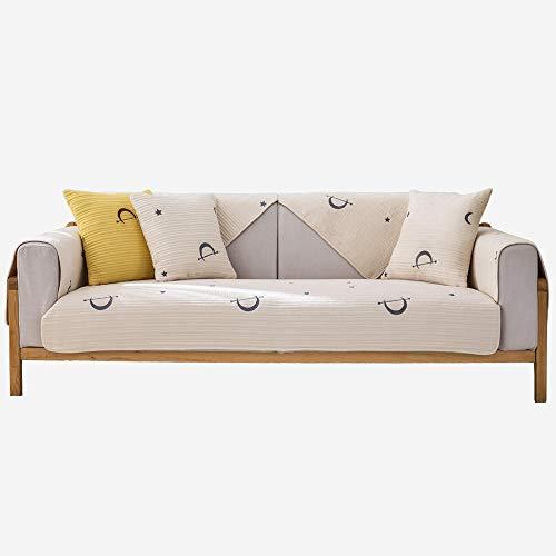 YUTJK Cotton Printed Corner Sofa Slipcover, Living Room Fabric Sofa Seat Covers, Furniture Protector Cover, Funda de Almohada de algodón Bordada, Puede ser Alfombra, Marrón Claro