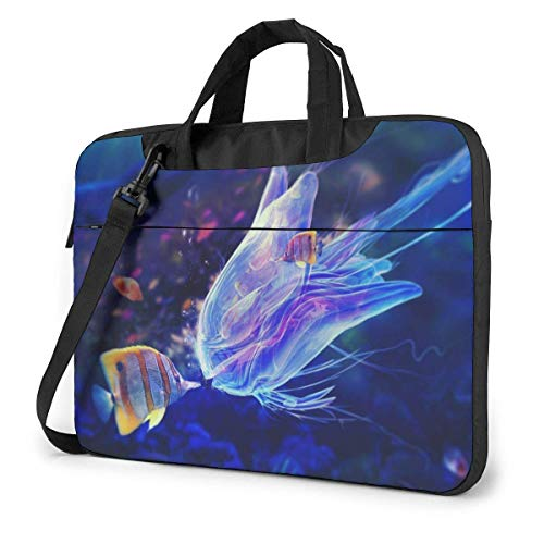 Laptop Shoulder Bag Carrying Laptop Case 14 inch,Blue Jellyfish Computer Sleeve Cover with Handle,Business Briefcase Protective Bag