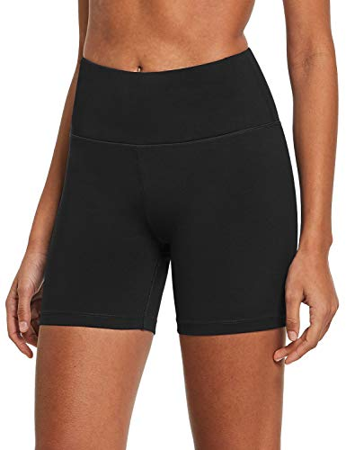 "BALEAF Women's 5"" Compression Shorts for Bike Volleyball Yoga Exercise Inner Pocket Black M"