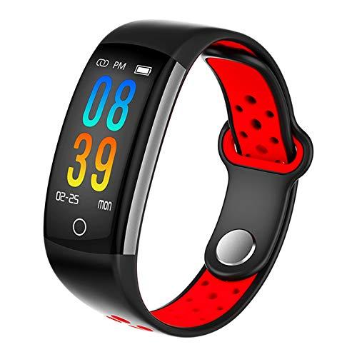 Fitness Armband mit Pulsmesser, Wasserdicht IP68 Pulsuhr Fitness Tracker Farbbildschirm Aktivitätstracker Fitness Uhr Schrittzähler Schlafmonitor mit Blutdruckmesser für Damen Herren Anruf (ROT)
