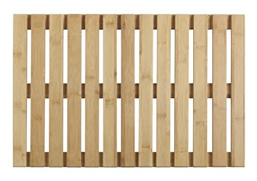 WENKO Baderost Indoor und Outdoor Bambus, 40 x 60 cm - Badematte, Bodenrost für Dusche, Bad, Pool, Sauna mit rutschhemmender Unterseite, Bambus, 40 x 60 cm, natur