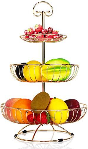 DMAR Fruteros con Pisos Estantes para Fruta de 3 Pisos Oro Cesta de Frutas Metal 30 x 45 cm Frutero Soporte para Frutas Soporte de Almacenamiento para Tartas de Vegetal