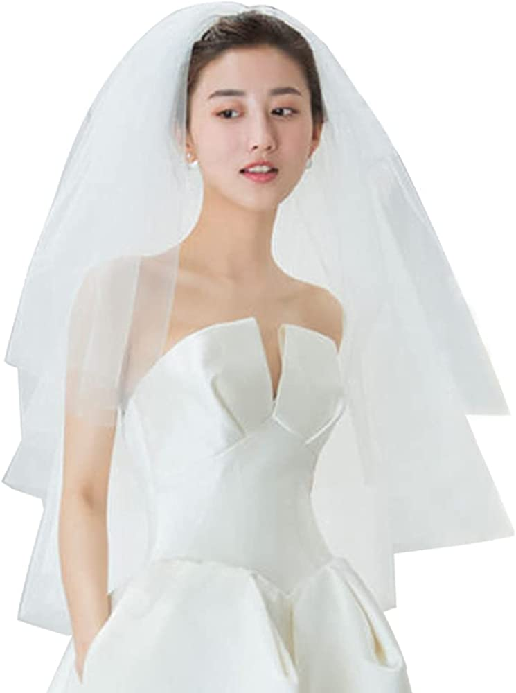 Short Bridal Veil 2 Tier White Simple Fluffy Soft Tulle Veil with Metal Comb Wedding Accessories for Travel Shooting Hen Party