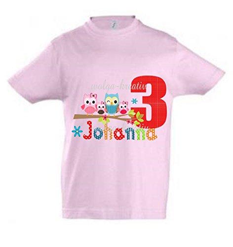 wolga-kreativ T-Shirt Geburtstag Mädchen ich Bin Schon 1 2 3 4 5 6 7 8 9 Jahre mit Namen Eule Eulenfamilie Geburtstagsshirt personalisiert Kindergeburtstag Geschenk Kinder