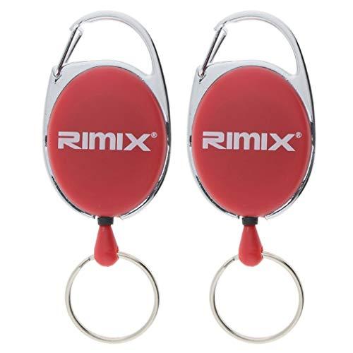 freneci 2x Retractable Key ID Badge Reel Carabiner Pull Nylon Cord 65cm Camping - Red