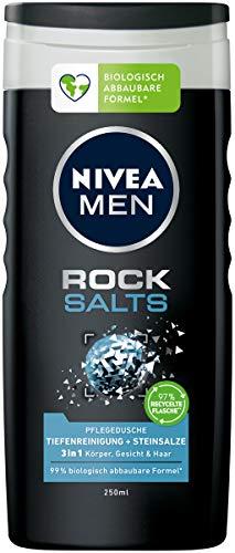 NIVEA MEN Rock Salts Pflegedusche (250 ml), Duschgel mit natürlichen Steinsalzen, effektive Dusche für ein gereinigtes, erfrischtes Hautgefühl