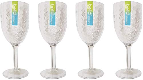 'Bello' Pack of 4 High Quality Plastic Wine Goblet Dimple Glasses