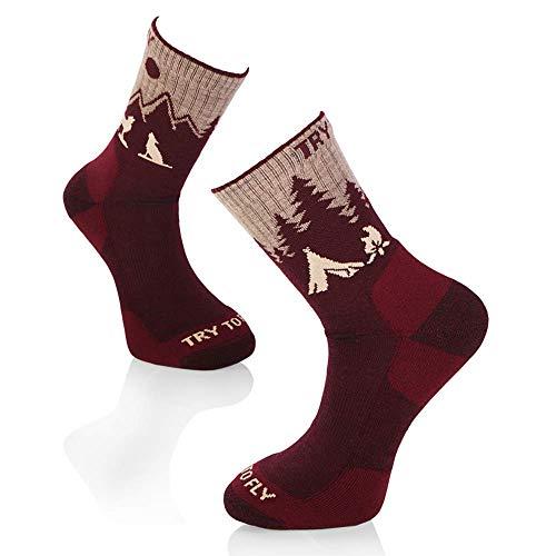 Try To Fly - Calcetines de senderismo para mujer Lobo rojo vino. 39-42