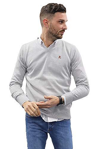 Jersey de Hombre Cuello Pico de Algodon Manga Larga de Marca Modelo Basico para Vestir Punto Fino (Gris, XL)