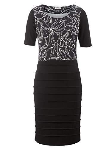 Alba Moda Damen Figurbetontes Knielang Kleid Halbarm in Schwarz