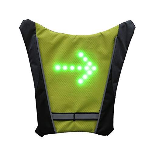TriLance - Gilet da Ciclismo Senza Fili USB, Ricaricabile, Riflettente, Zaino con LED Lampeggiante in Aria Aperta, per Ciclismo, Corsa, Jogging, ECC, Unisex - Adulto, Giallo