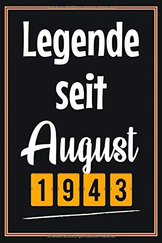 Legende seit August 1943: Geschenkideen frauen Männer geburtstag 77 jahre, Geburtstagsgeschenk für vater mutter Freunde mann, Notizbuch a5 liniert softcover
