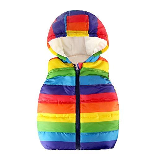 Heternal Girls Gilet Baby Boys Girls Coat Strip Rainbow Zipper Jackets Baby Warm Winter Casual Hooded Coat Waistcoat Toddler Sleeveless Windbreaker Ourwear Age 2 6 Years Multicolor 2 3 Years