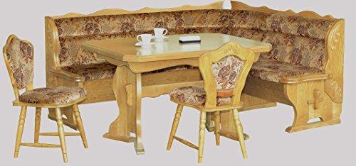 5.5.4.2313: schöne Eckbankgruppe in Eiche natur lackiert - Kücheneckbank, ausziehbarer Tisch, 2 Stühle