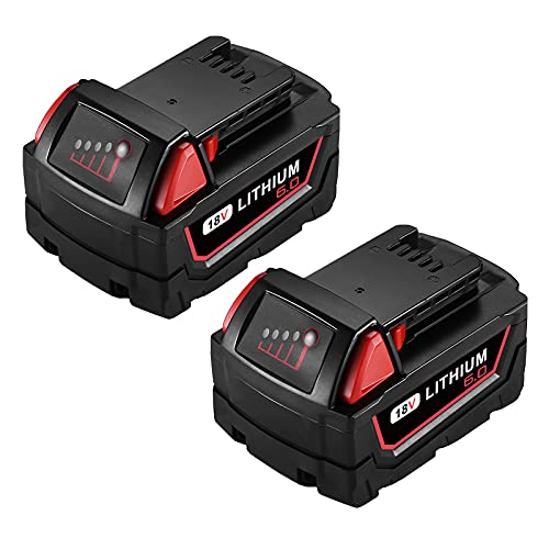Powerextra 6.0AH Lithium Battery Replace for Milwaukee M18 Battery, Compatible with Milwaukee Battery 48-11-1850/48-11-1852/48-11-1840/48-11-1828/48-11-1820, M18 Lithium XC Battery (2 Pack)